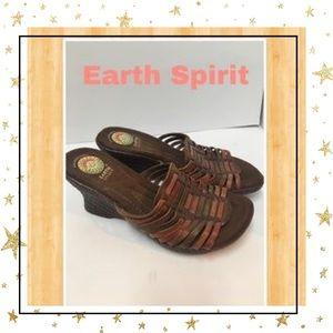 Earth Spirit Woven Slide Wedge Sandals 8